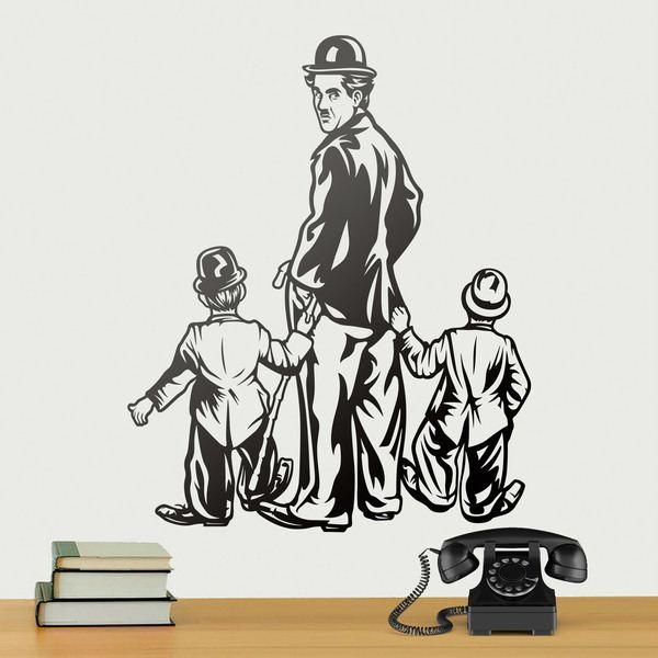 Wandtattoos: Charles Chaplin mit zwei Kindern
