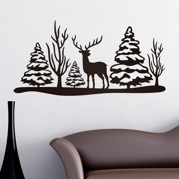 Wandtattoos: Weihnachtslandschaft Hirsch und Bäume