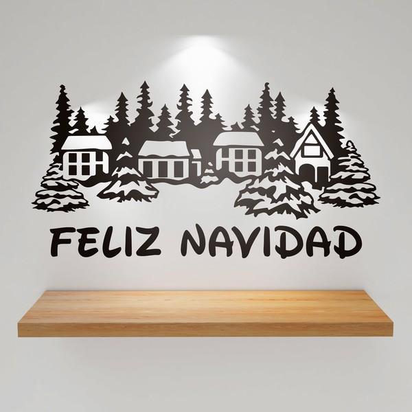 Wandtattoos: Verschneite Häuser und Merry Christmas 1