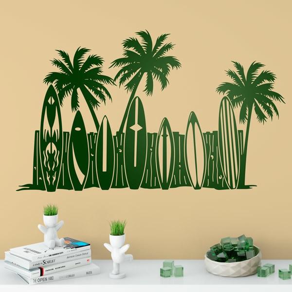 Wandtattoos: Palmen und Surfbretter am Strand
