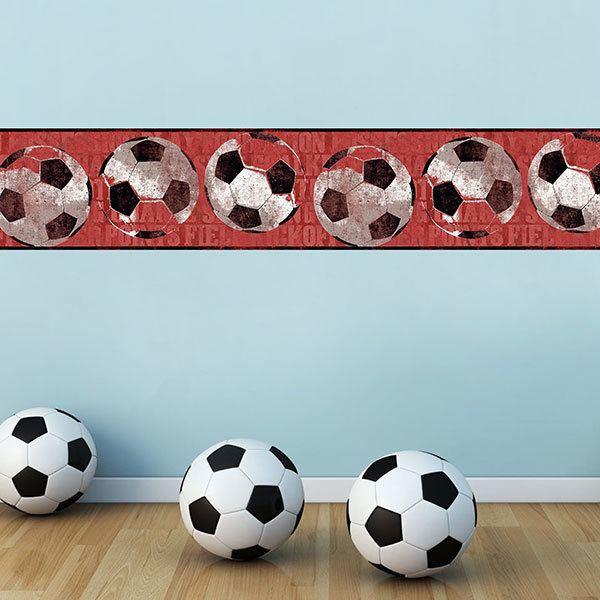 Kinderzimmer Wandtattoo:  Bordüre Fußball