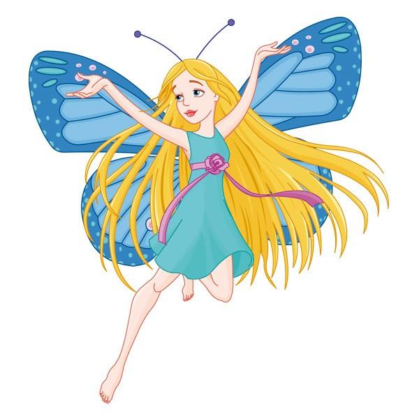 Kinderzimmer Wandtattoo: Blaue Schmetterlings-Fee