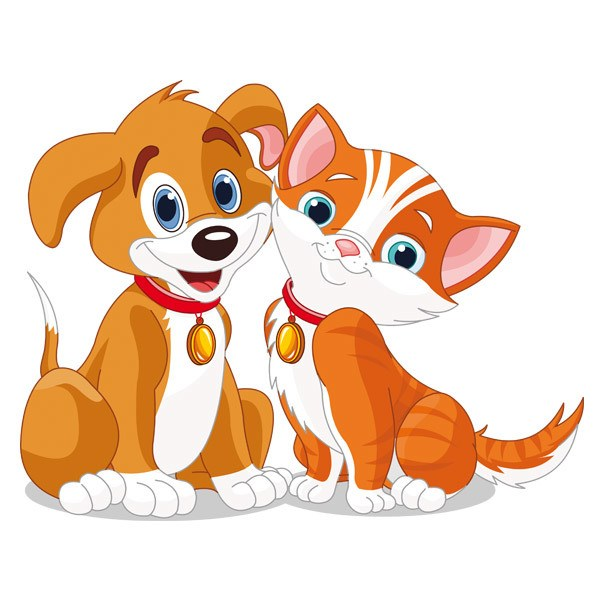 Kinderzimmer Wandtattoo: Hund und Katze