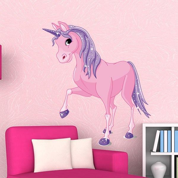 Kinderzimmer Wandtattoo: Pferd Einhorn Rosa