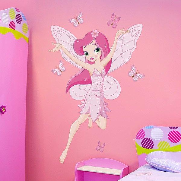 Kinderzimmer Wandtattoo: Rosen-Fee und Schmetterlinge