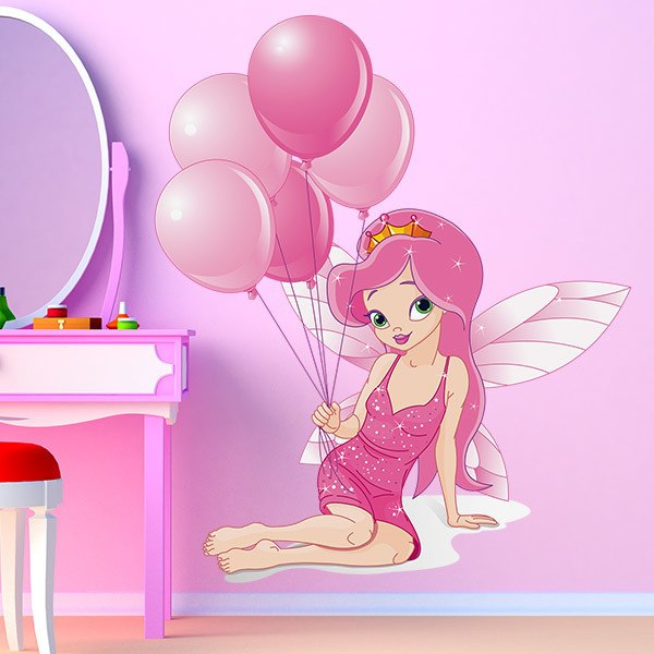 Kinderzimmer Wandtattoo: Fee mit Luftballons