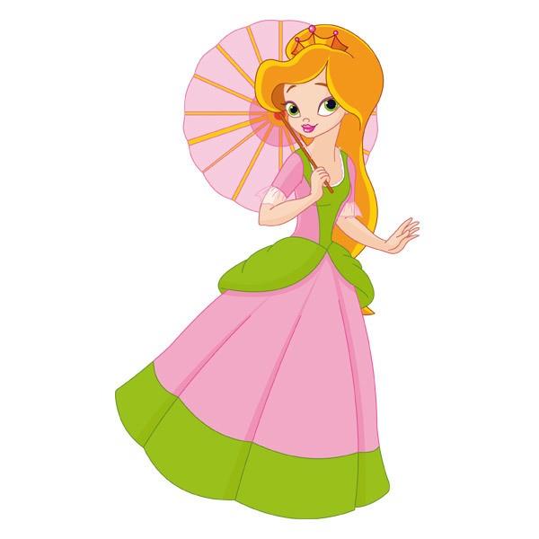 Kinderzimmer Wandtattoo: Prinzessin mit Sonnenschirm