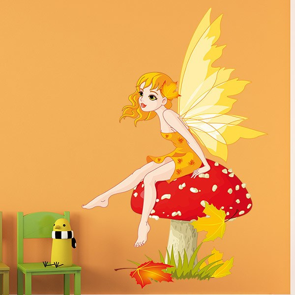 Kinderzimmer Wandtattoo: Fairy sitzend auf Pilz