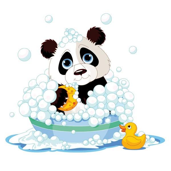 Kinderzimmer Wandtattoo: Panda in der Badewanne