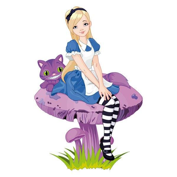 Kinderzimmer Wandtattoo: Mädchen und Katze auf einem Pilz