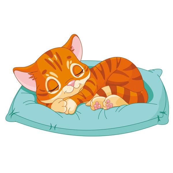 Kinderzimmer Wandtattoo: Kätzchen Schlaf
