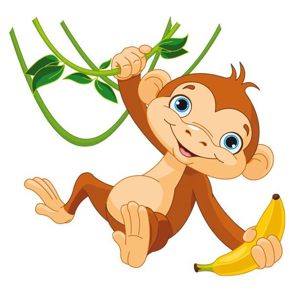 Kinderzimmer Wandtattoo: Affe mit Banane auf dem Zweig