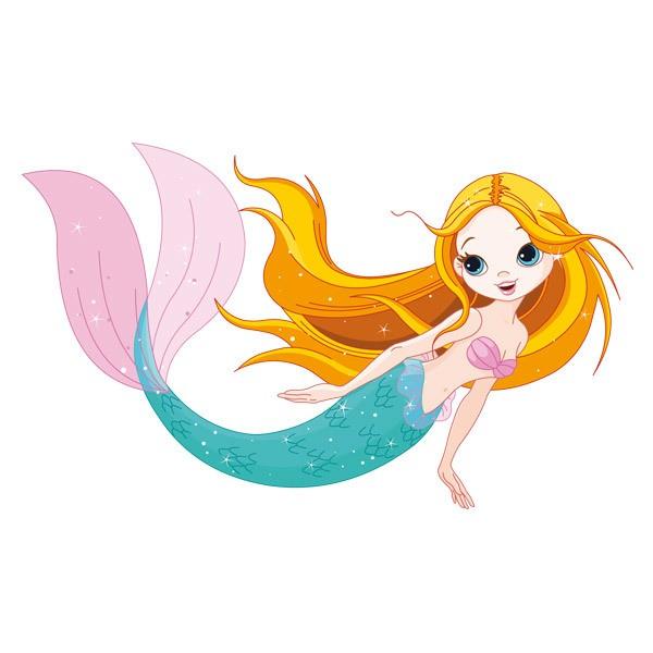 Kinderzimmer Wandtattoo: Meerjungfrau schwimmt