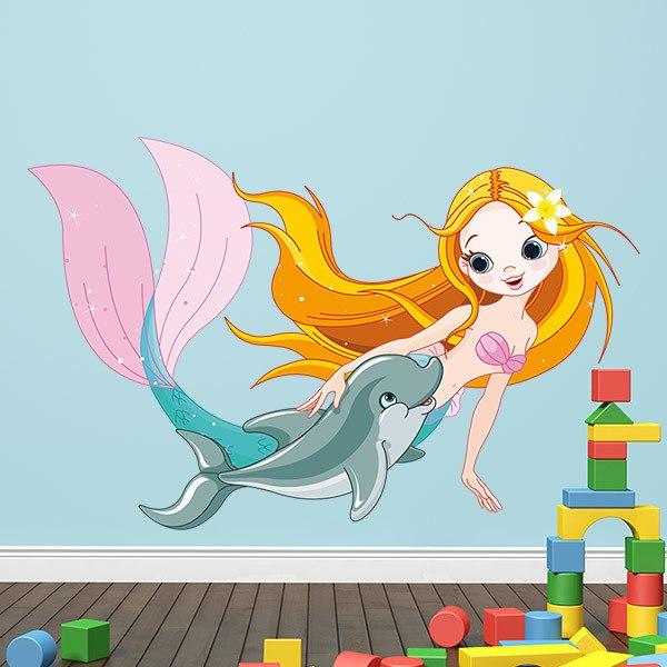 Kinderzimmer Wandtattoo: Meerjungfrau und Delphin-Schwimmen