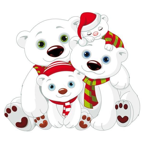 Kinderzimmer Wandtattoo: Weiß Teddybären Familie