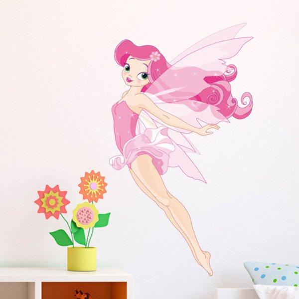 Kinderzimmer Wandtattoo: Rosa Fee Fliegen