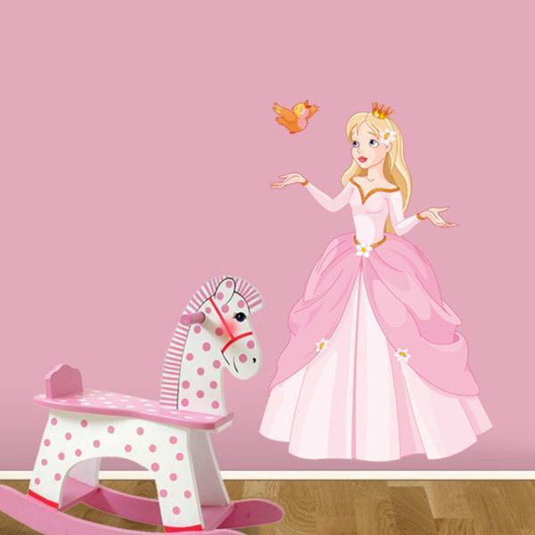 Kinderzimmer Wandtattoo: Prinzessin und kleiner Vogel