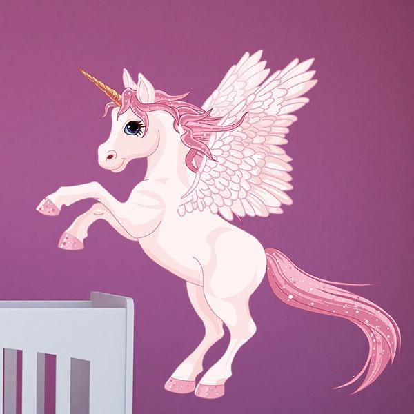 Kinderzimmer Wandtattoo: Einhorn mit rosa Flügeln