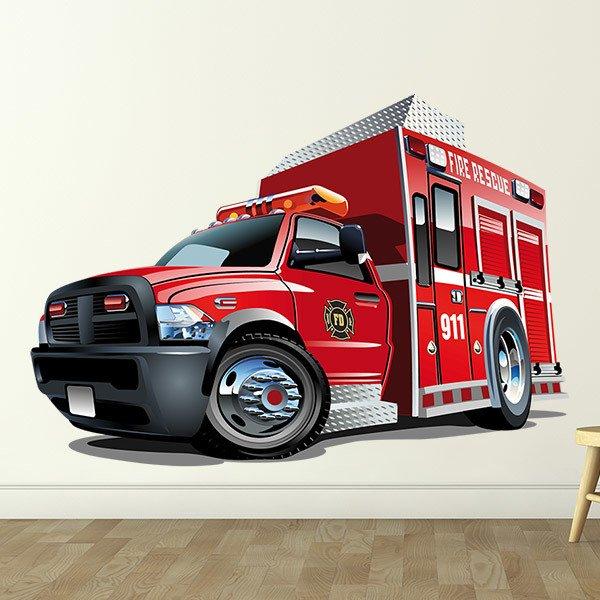 Kinderzimmer Wandtattoo: Feuer-Rettungs-Lastwagen