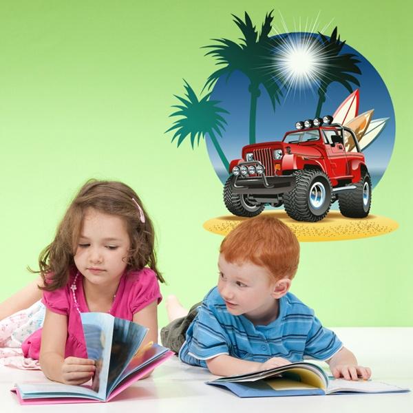 Kinderzimmer Wandtattoo: Geländewagen am Strand