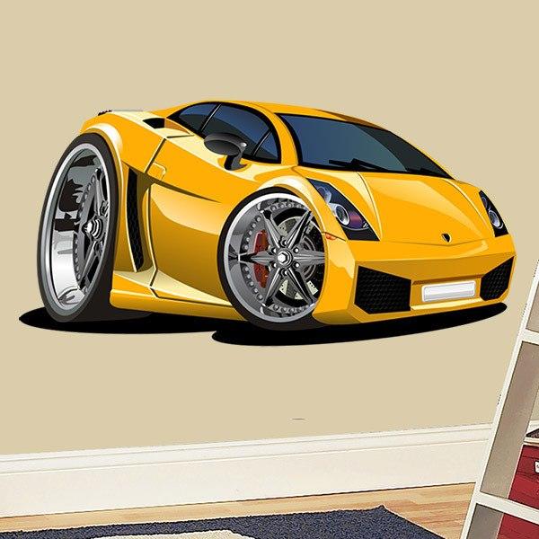 Kinderzimmer Wandtattoo: Gelben Sportwagen 2