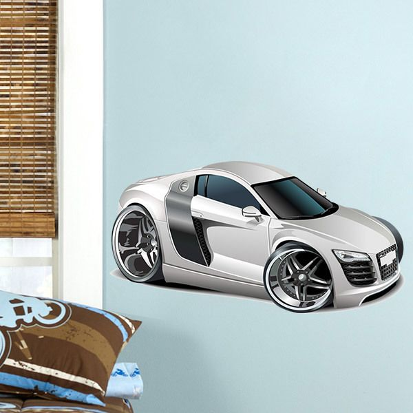Kinderzimmer Wandtattoo: Weiß Sportwagen 2
