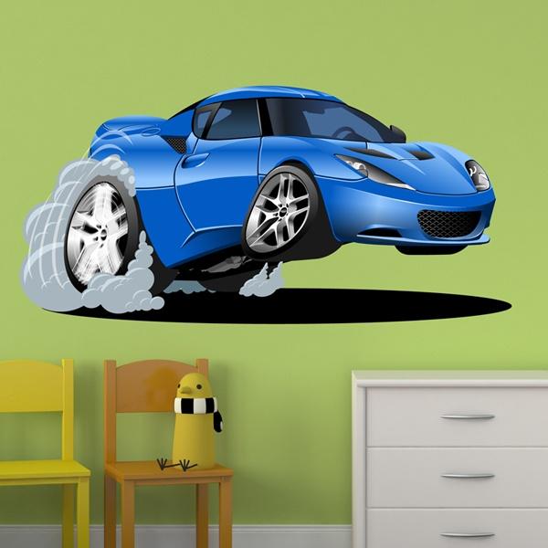 Kinderzimmer wandtattoo blaues auto beschleunigung - Wandtattoo kinderzimmer auto ...