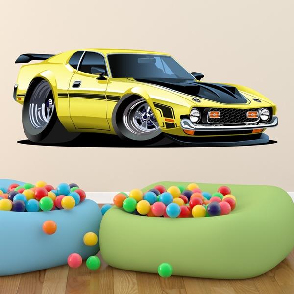 Kinderzimmer Wandtattoo: Gelben Sportwagen
