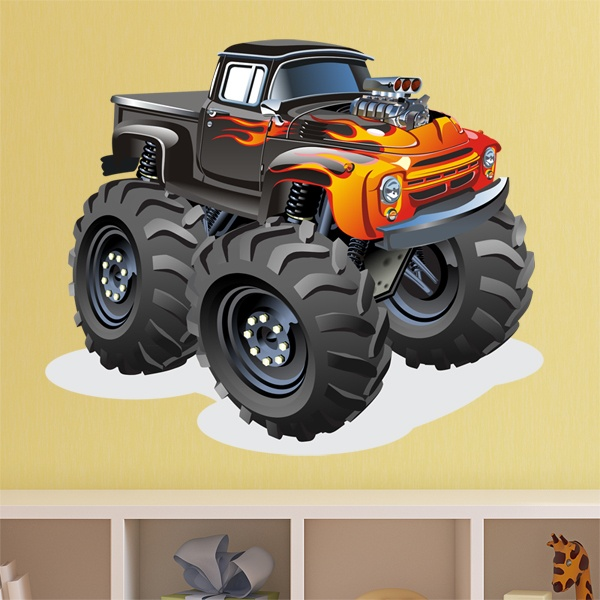 Kinderzimmer Wandtattoo: Monster Truck pickup fire