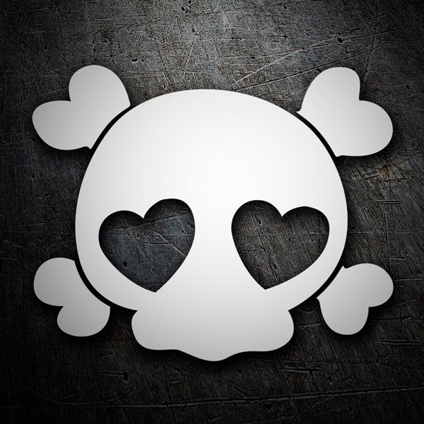 Aufkleber: Schädelknochen Liebe