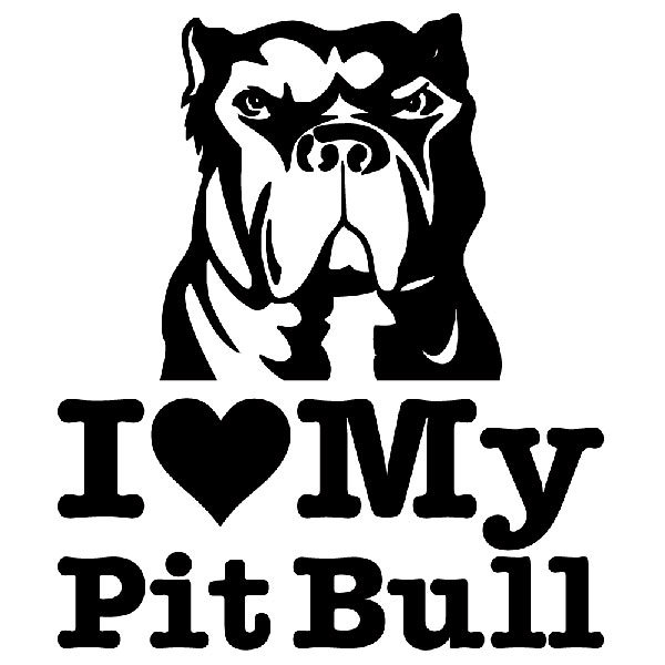Aufkleber: I love my Pit Bull 2
