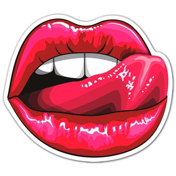 Aufkleber: Lippen und Zunge