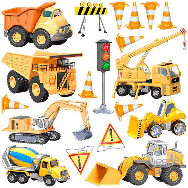 Kinderzimmer Wandtattoo: LKW Baumaschinen Kit