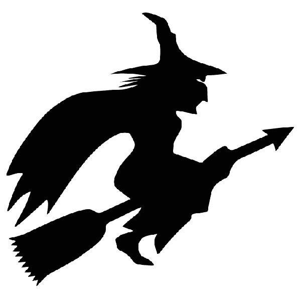 Aufkleber: Hexe fliegt auf Besen
