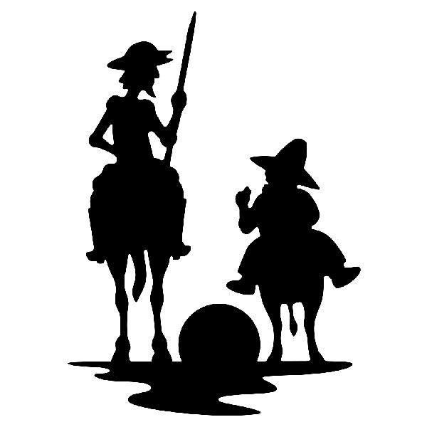 Aufkleber: Don Quijote und Sancho Sonnenuntergang