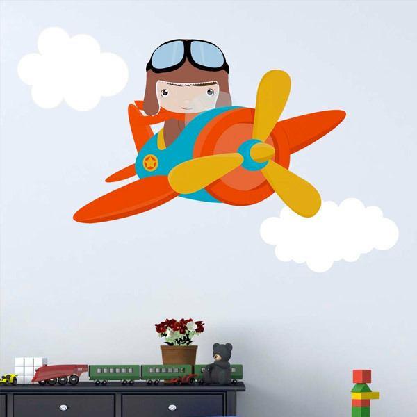 Kinderzimmer Wandtattoo: Flugzeug in den Wolken
