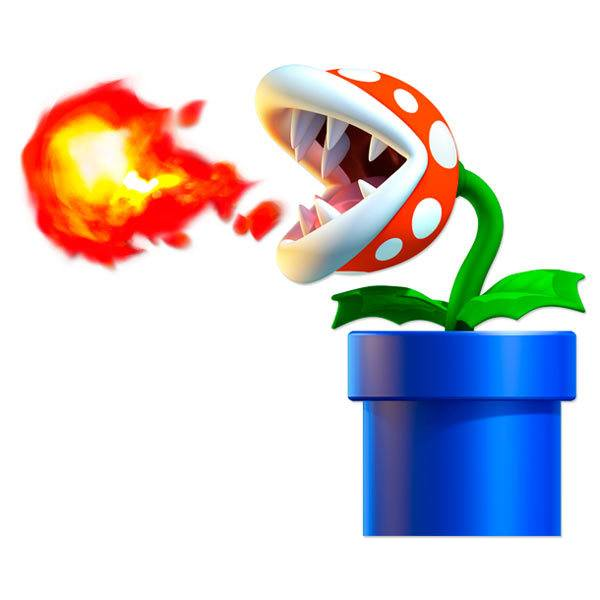 Kinderzimmer Wandtattoo: Piranha Pflanze spuckt Feuer