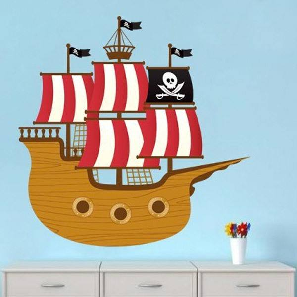Kinderzimmer Wandtattoo: Kleine Piratenboot