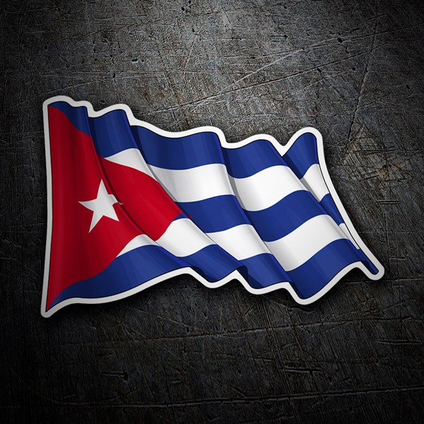 Aufkleber: Flagge von Kuba winken
