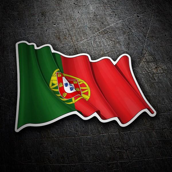 Aufkleber: Flagge von Portugal winken