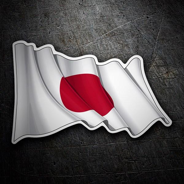 Aufkleber: Flagge von Japan winken