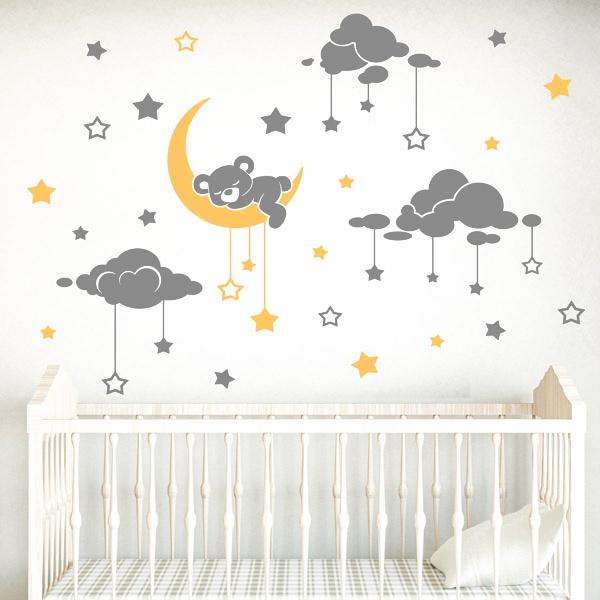 Kinderzimmer Wandtattoo: Tragen schläfrig und Sternenhimmel