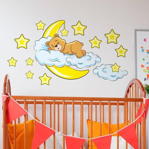 Kinderzimmer Wandtattoo: Bär in den Wolken und Mond gelben