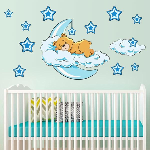 Kinderzimmer Wandtattoo: Bären in den Wolken und Mond blauen