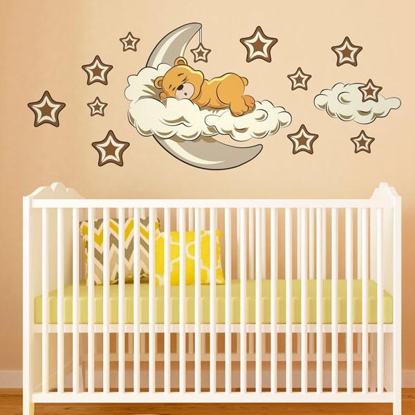 Kinderzimmer Wandtattoo: Bären in den Wolken und Mond neutrale