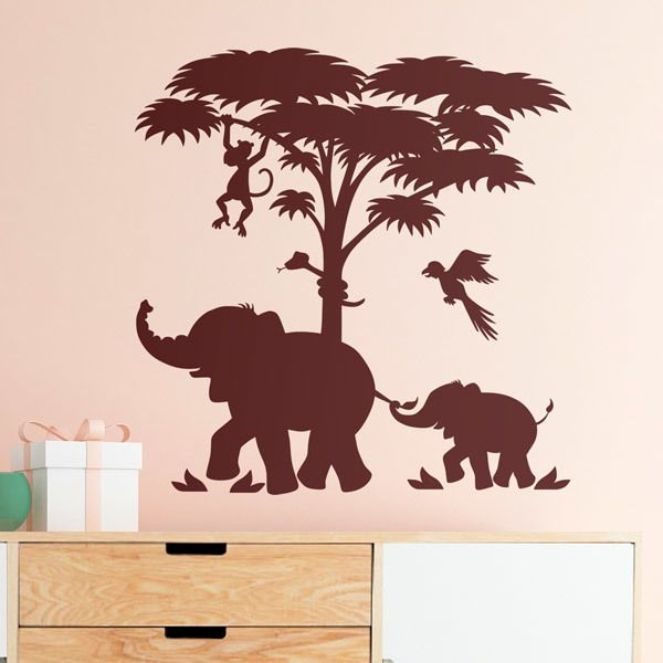 Kinderzimmer Wandtattoo: Elefanten und Baum-Szene
