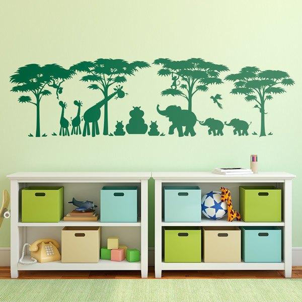 Kinderzimmer Wandtattoo: Szene Dschungel-Tiere