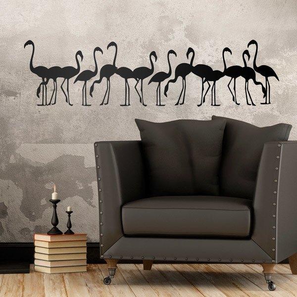 Wandtattoos: Schwarm Flamingos