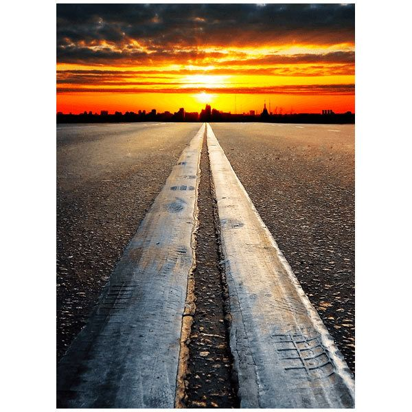 Fototapeten: Autobahn bis zum Sonnenuntergang