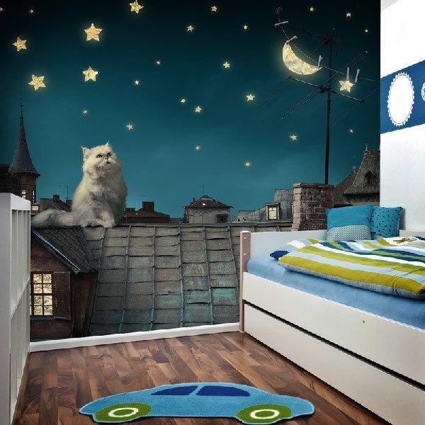 Fototapeten: Gato en el tejado 0
